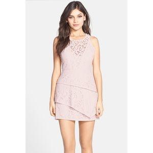 BCBG Lavender Hanah Lace Asymmetric Tiered Dress